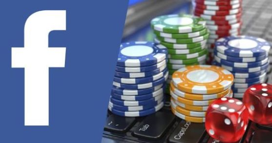 social media facebook logo and gambling image with poker chips