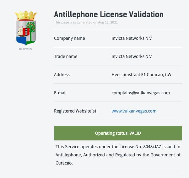 licencja vulkan vegas