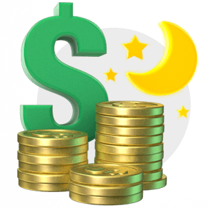 Dollar Sign and Coins with Moon Icon