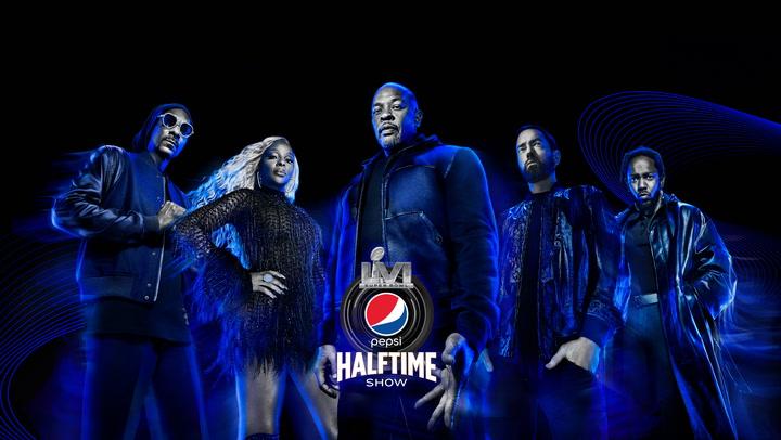 Super Bowl Halftime Hip Hop Stars Snoop Dogg, Mary J Blige, Dr. Dre, Eminem, and Kendrick Lamar